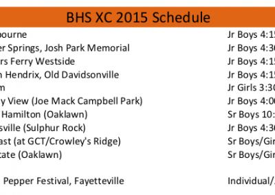 2015 BHS Pioneers XC schedule