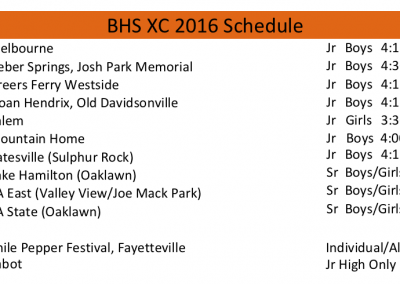 2016 BHS Pioneers XC schedule