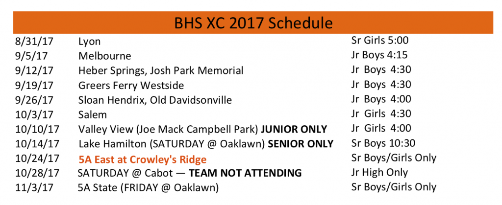 2017 BHS Pioneers XC schedule