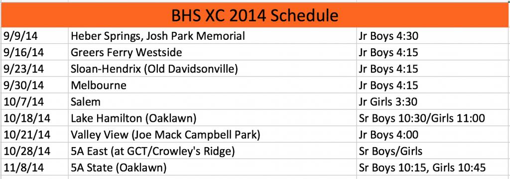 2014 BHS XC schedule