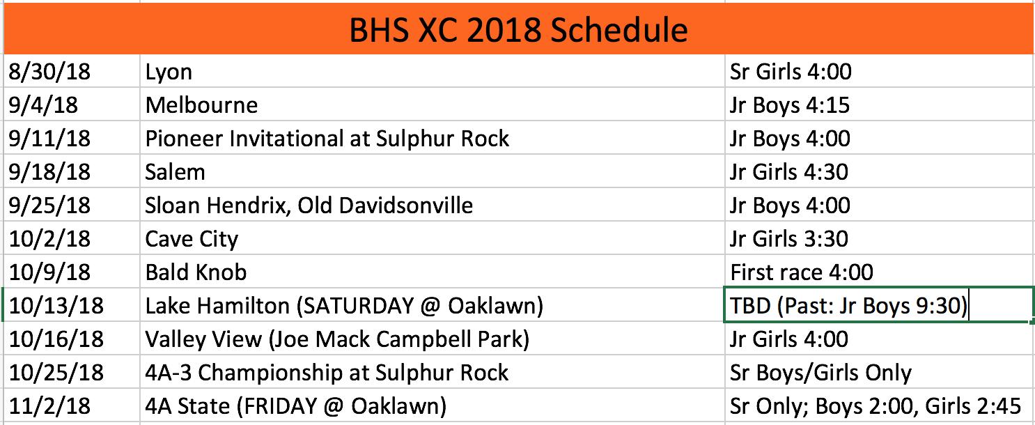 2018 BHS Pioneers XC schedule