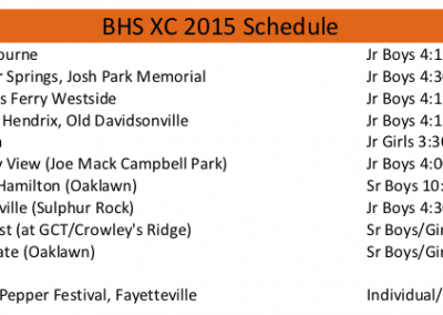 2015 BHS XC schedule