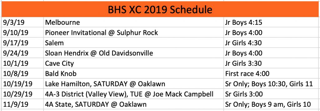2019 BHS Schedule