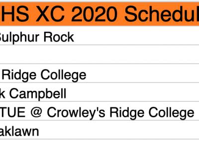 2020 BHS Pioneers XC schedule